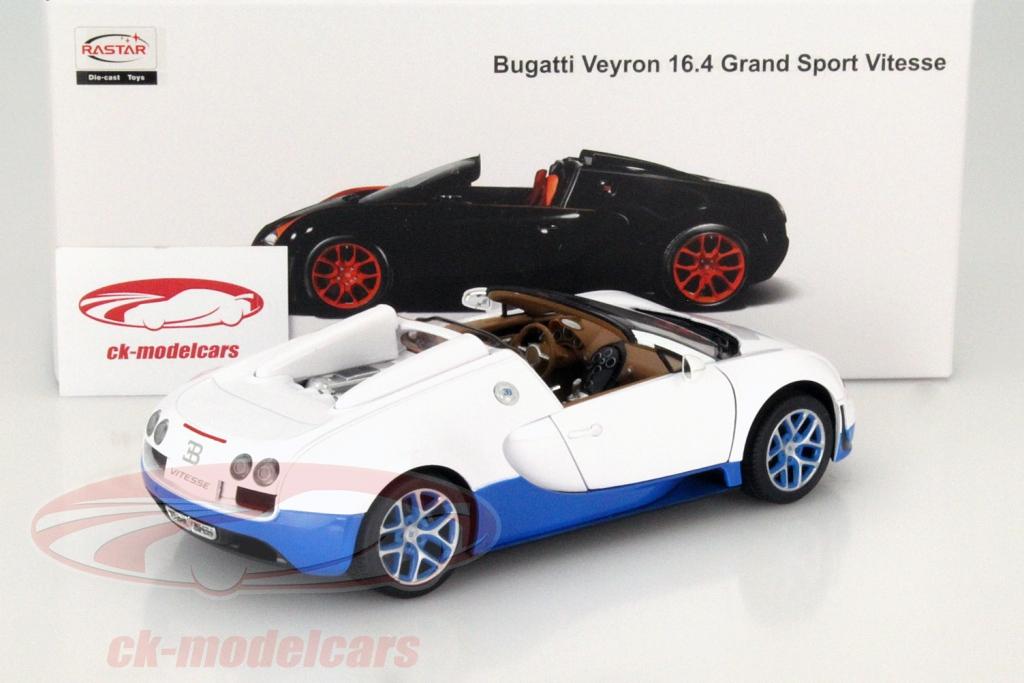 Rastar 1:18 Bugatti Veyron Grand Sport Vitesse - White Blue Rear