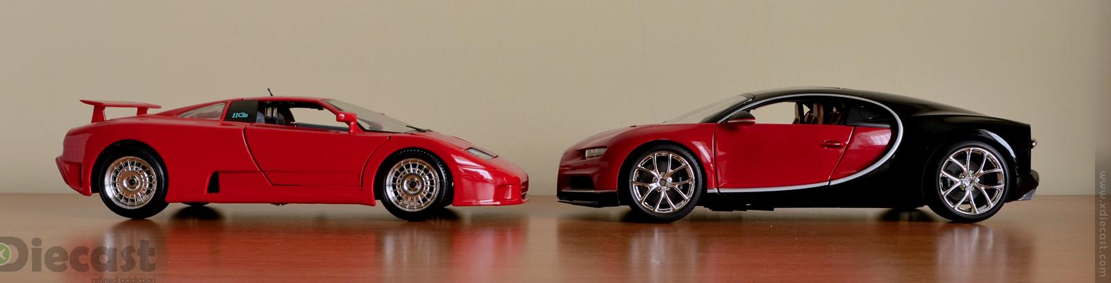 Bburago 1:18 Bugatti Chiron vs Bugatti EB110