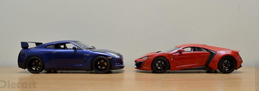 Jada 1:18 Lykan Hypersports vs Nissan GTR