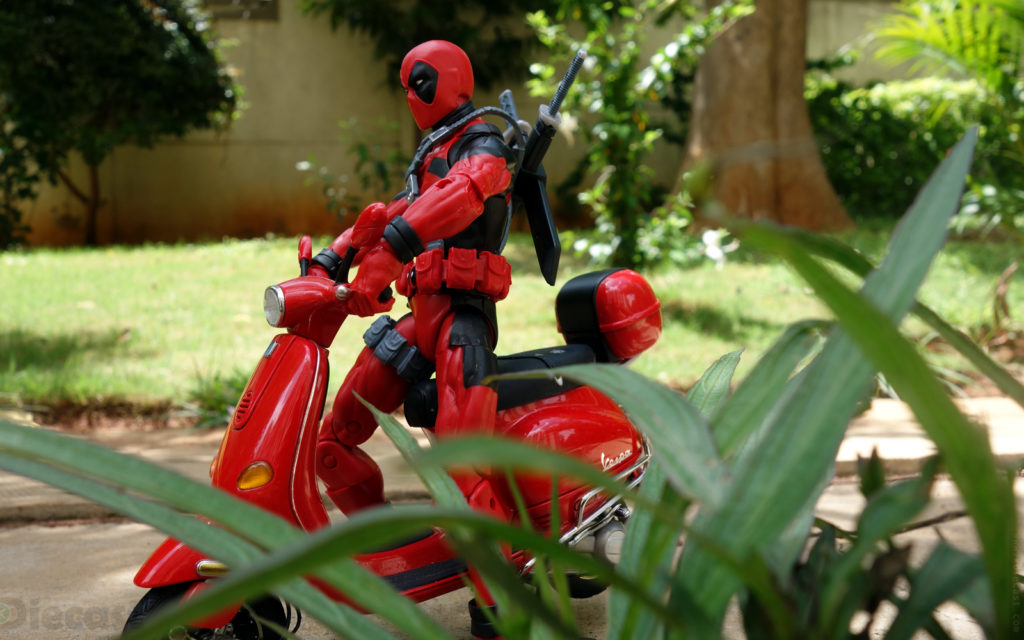 Deadpool with a Vespa