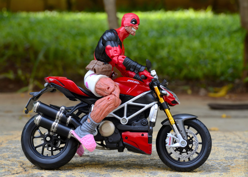 Deadpool riding a Ducati Streetfighter