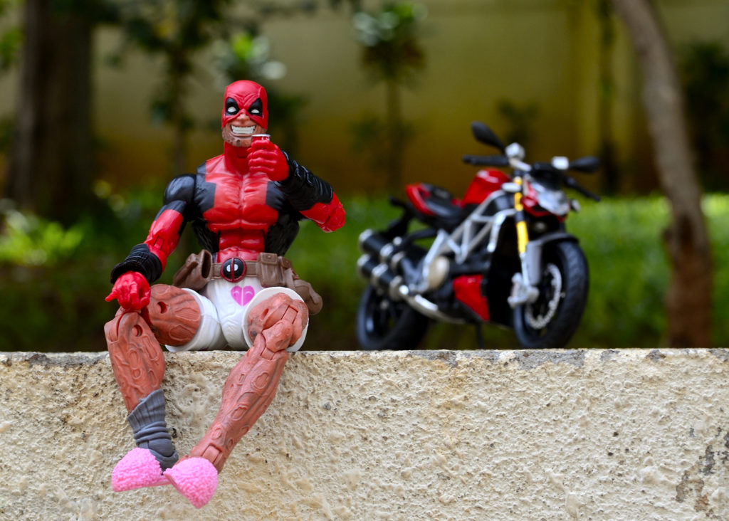 Deadpool Relaxing after Test Riding Ducati Streetfighter