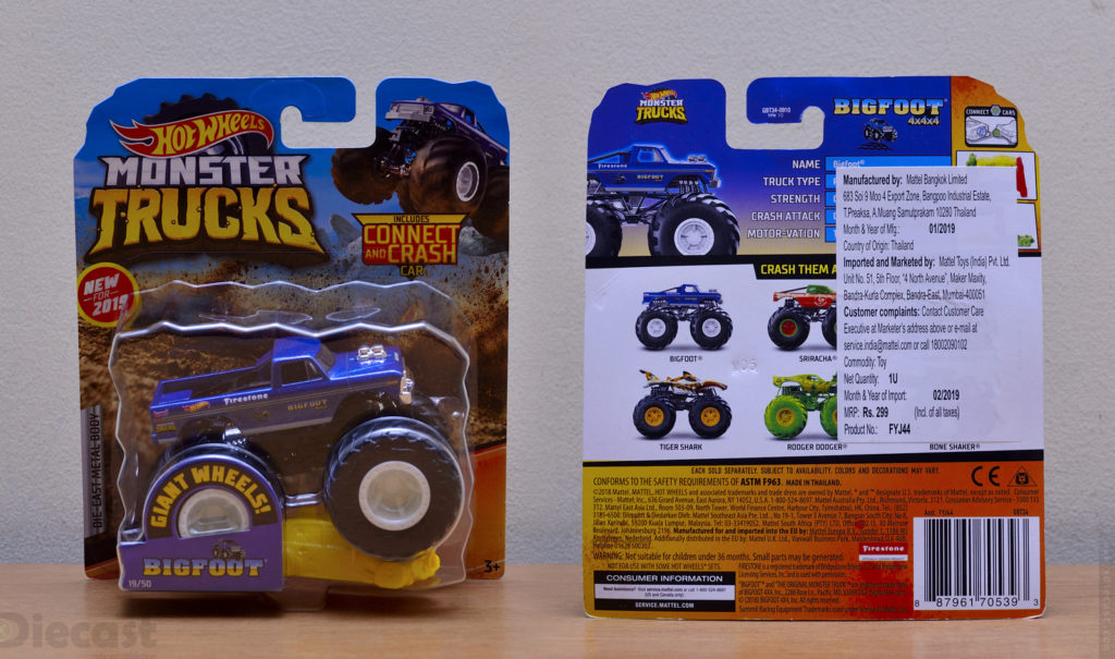 Hot Wheels 1:64 Bigfoot Monster Truck - Packages