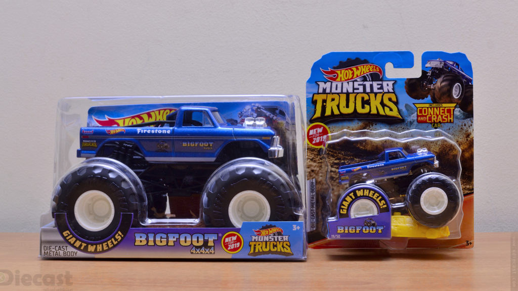 Hot Wheels 1:24 and 1:64 Bigfoot Monster Truck - Packages