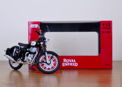 Maisto 1:12 scale Royal Enfield Classic 500 in Black – Unboxed